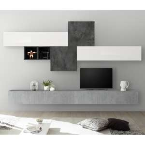 Infra Wall TV Unit And Storage In Cement Effect And Oxide