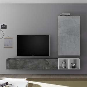 Infra White Gloss Wall Entertainment Unit In Oxide And Cement