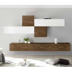 Infra Wall TV Unit In White High Gloss And Dark Walnut