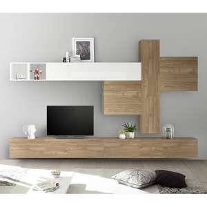 Infra Large Entertainment Unit In Stelvio Walnut And White Gloss