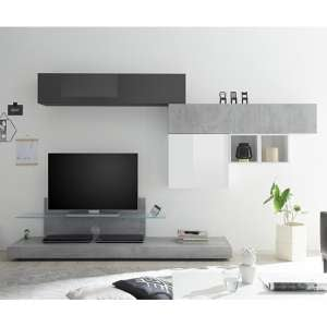 Infra White And Grey Gloss TV Stand In Cement And Glass Shelf
