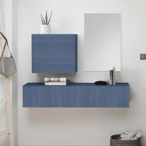 Infra Wooden Bathroom Furniture Set In Blue With Mirror