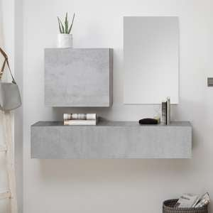 Infra Wooden Bathroom Furniture Set In Cement Effect And Mirror