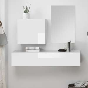 Infra Wooden Bathroom Furniture Set In White Gloss And Mirror