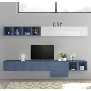 Infra Wall Entertainment Unit In White High Gloss And Blue