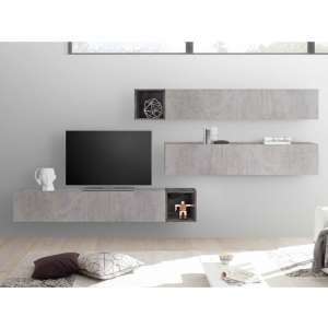 Infra Wooden Entertainment Unit In Cement Effect And Oxide
