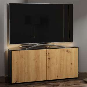 Intel Corner LED TV Stand In Black Gloss And Oak