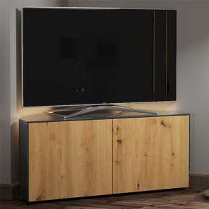 Intel Corner LED TV Stand In Grey Gloss And Oak