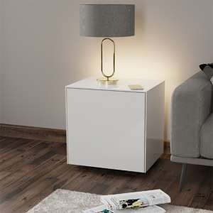 Intel LED Lamp Table In White Gloss With Wireless Charging