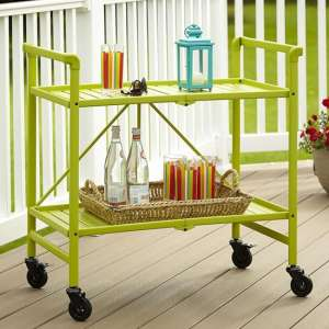 Intellifit Folding Drinks Trolley In Apple Green With 2 Shelves
