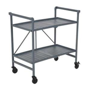 Intellifit Folding Drinks Trolley In Grey With 2 Shelves