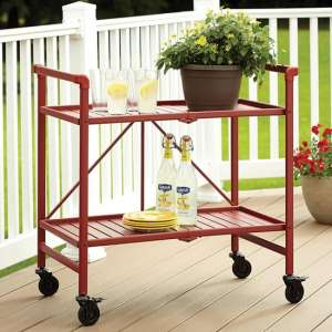Intellifit Folding Drinks Trolley In Ruby Red With 2 Shelves