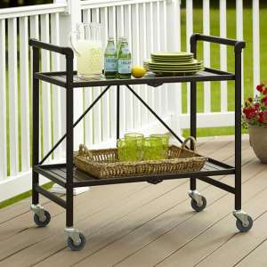Intellifit Folding Drinks Trolley In Sandy Brown With 2 Shelves