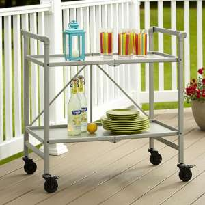 Intellifit Folding Drinks Trolley In Silver With 2 Shelves
