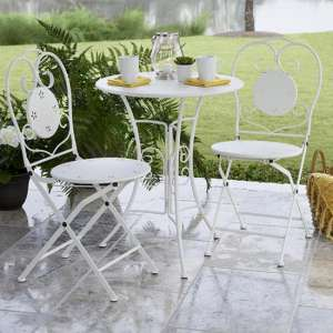 Intellifit Steel Set Of 3 Small Space Bistro Patio Set In White