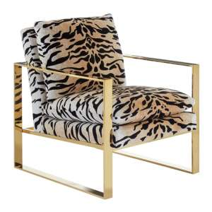 Intercrus Fabric Upholstered Armchair In Tiger Print