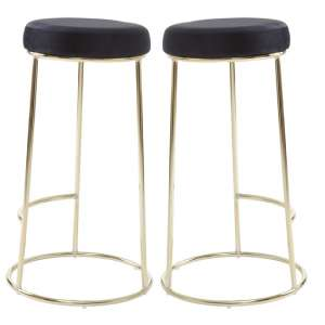 Intercrus Tall Black Velvet Bar Stools In Pair