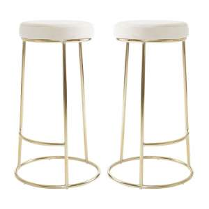 Intercrus Tall Cream Velvet Bar Stools In Pair