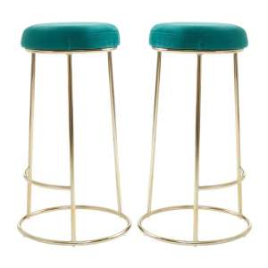 Intercrus Tall Green Velvet Bar Stools In Pair