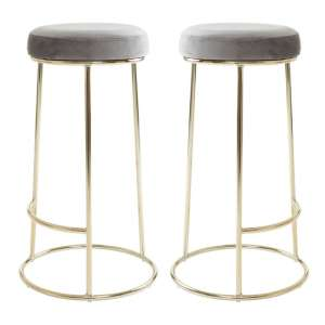 Intercrus Tall Grey Velvet Bar Stools In Pair