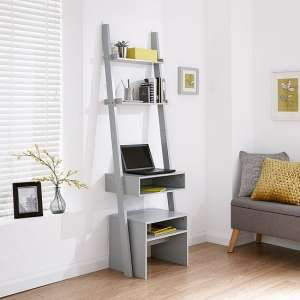 Irene Ladder Style Laptop Desk In Grey Finish With Stool