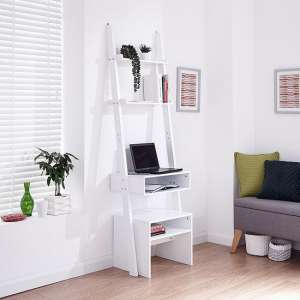 Irene Ladder Style Laptop Desk In White Finish With Stool