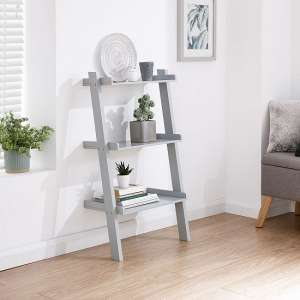 Irene Ladder Style Three Tier Wall Rack Shelving Unit In Grey