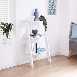 Irene Ladder Style Three Tier Wall Rack Shelving Unit In White