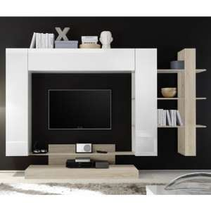 Iris Large Entertainment Unit In White High Gloss And Samoa Oak