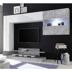 Iris Wall Entertainment Unit In White Gloss And Cement Effect