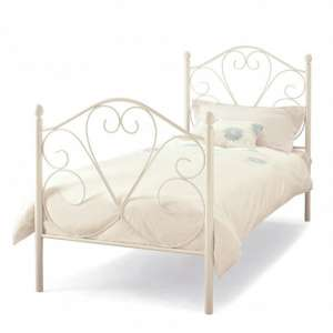 Isabelle Metal Single Bed In White Gloss