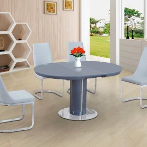 Italia Glass Extendable Dining Table In Grey Gloss