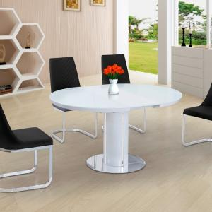 Italia Glass Extendable Dining Table In White Gloss