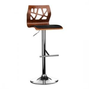 Ivana Bar Stool In Walnut And Black PU Seat With Chrome Base