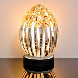 Izar Small Art Deco Design Mosaic Glass Egg Table Lamp