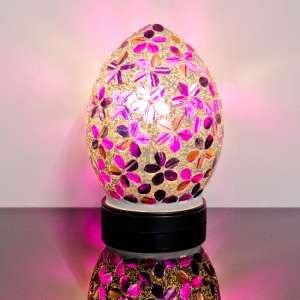 Izar Small Magenta Flower Egg Design Mosaic Glass Table Lamp