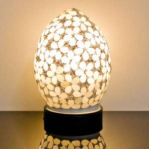 Izar Small Opaque Flower Design Mosaic Glass Egg Table Lamp