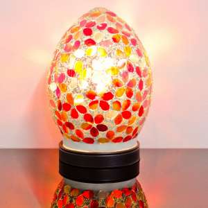 Izar Small Red Flower Design Mosaic Glass Egg Table Lamp