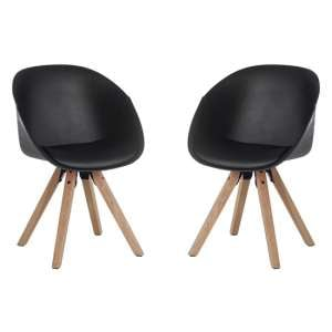Jaclyn Black PU Visitor Chair With Wooden Legs In Pair