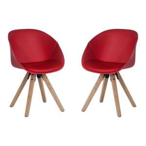 Jaclyn Red PU Visitor Chair With Wooden Legs In Pair