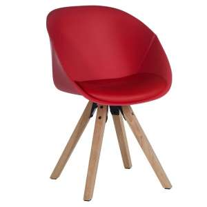 Jaclyn Visitor Chair In Red PU With Wooden Legs