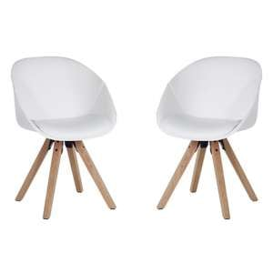 Jaclyn White PU Visitor Chair With Wooden Legs In Pair