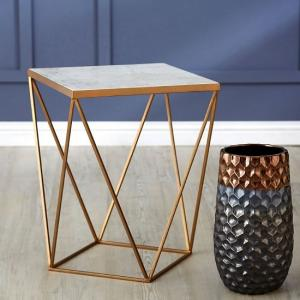 Jaedon Square Side Table In Marble Top With Gold Frame