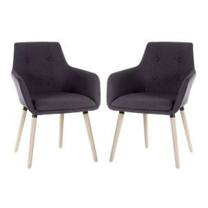 Jaime Fabric Reception Chairs In Graphite With Wood Legs In Pair