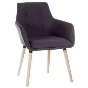 Jaime Fabric Reception Chair In Graphite With Wooden Legs