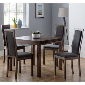 Jakey Extending Dining Table In Walnut With Four Dining Chairs
