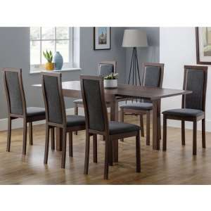 Jakey Extending Dining Table In Walnut With Six Dining Chairs