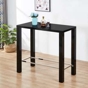 Jam Glass Bar Table Rectangular In Black High Gloss