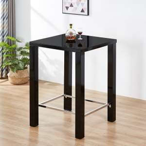 Jam Modern Glass Bar Table Square In Black High Gloss