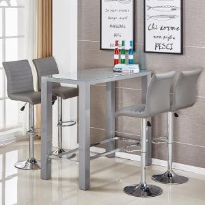 Jam Glass Bar Table Set Rectangular Grey Gloss 4 Ripple Stools